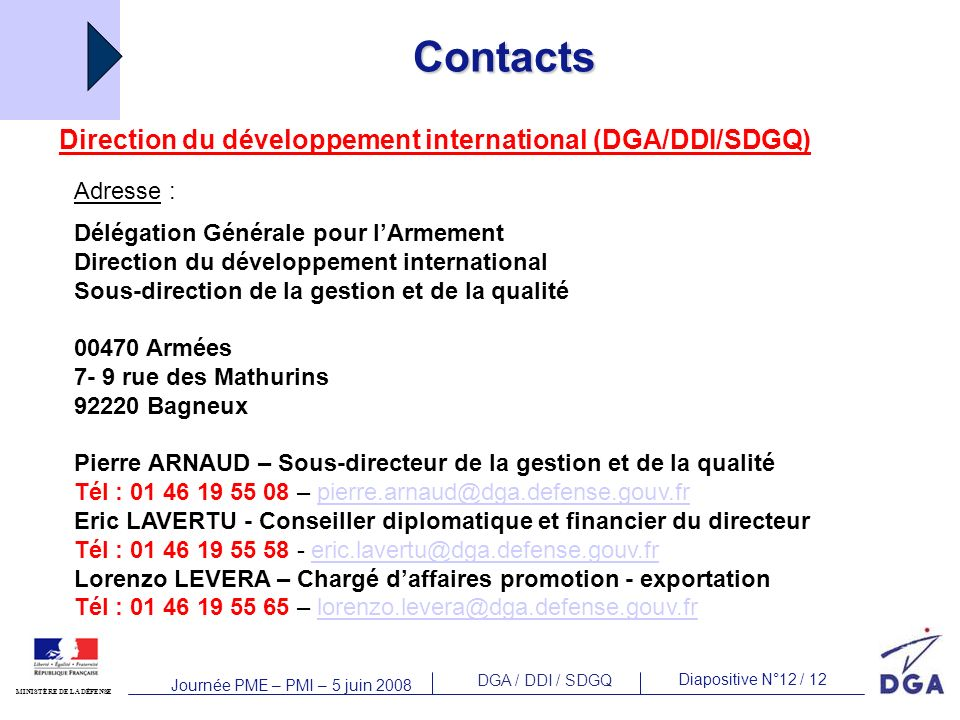 Contacts Direction du développement international (DGA/DDI/SDGQ)‏