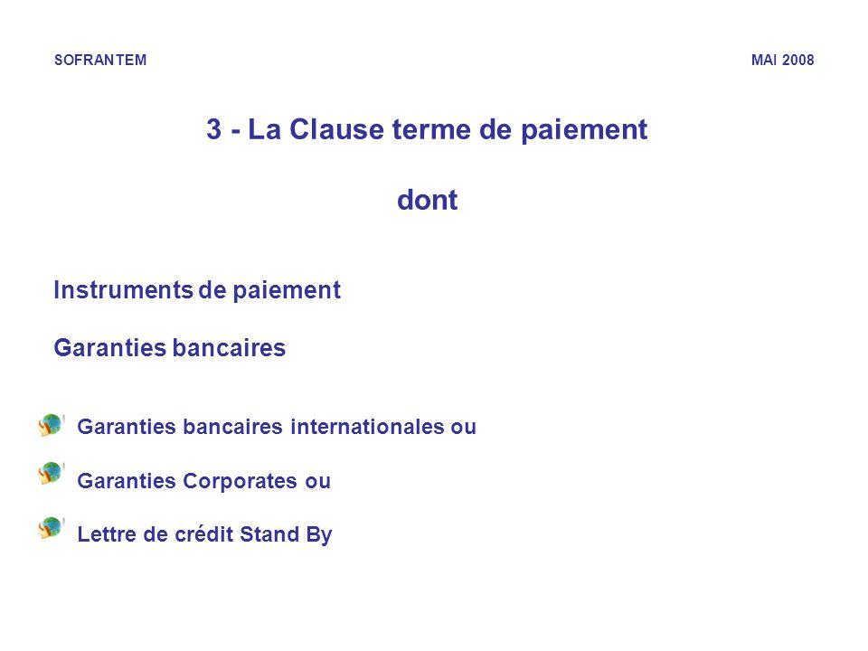 3 - La Clause terme de paiement