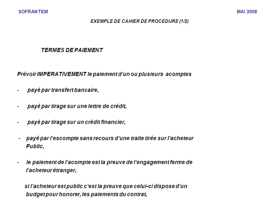 EXEMPLE DE CAHIER DE PROCEDURE (1/2)‏