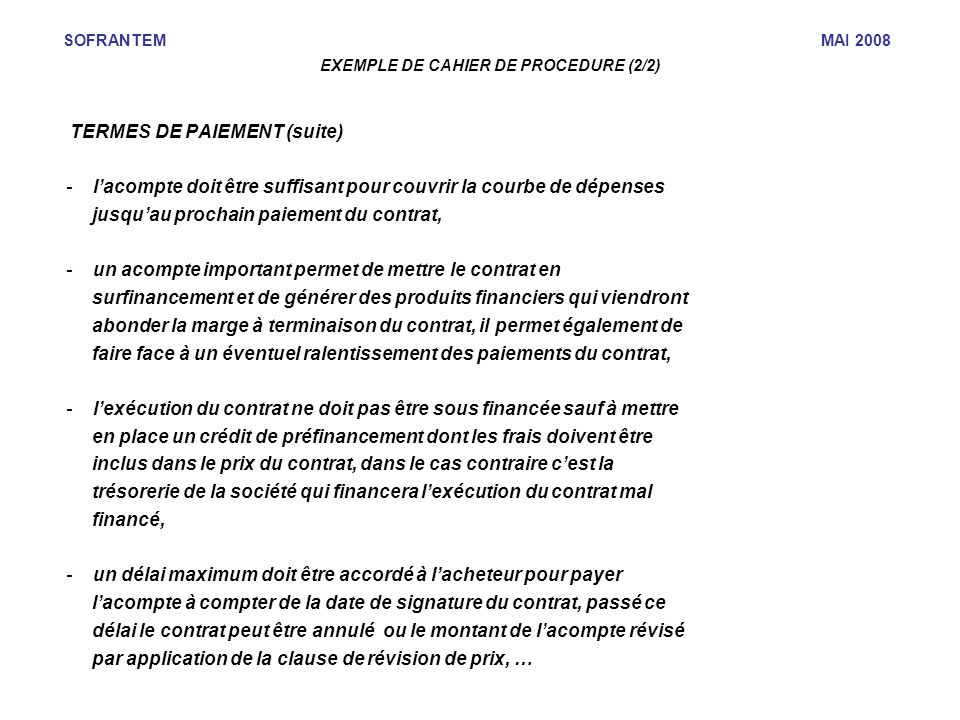 EXEMPLE DE CAHIER DE PROCEDURE (2/2)‏