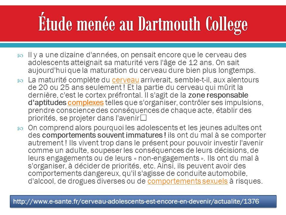 Étude menée au Dartmouth College