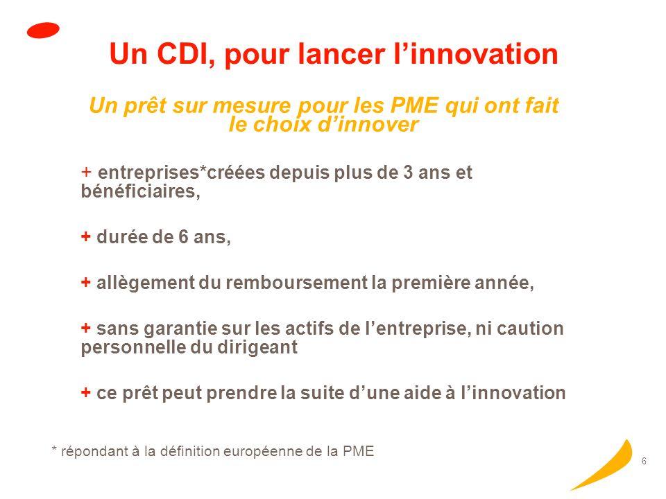 Un CDI, pour lancer l'innovation