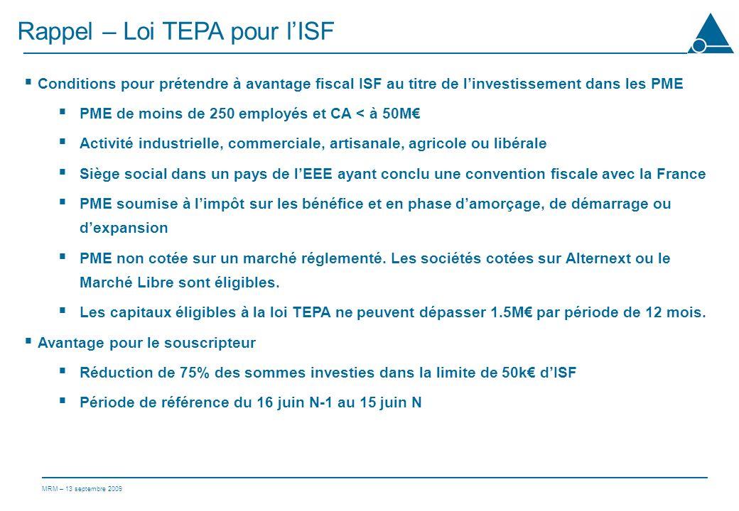 Rappel – Loi TEPA pour l'ISF