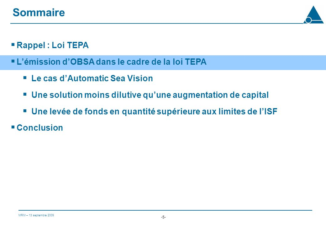 Sommaire Rappel : Loi TEPA