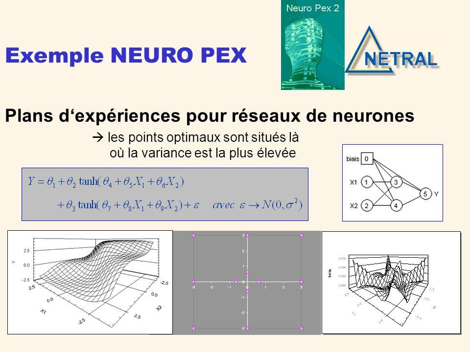 Exemple NEURO PEX Plans d'expériences pour réseaux de neurones