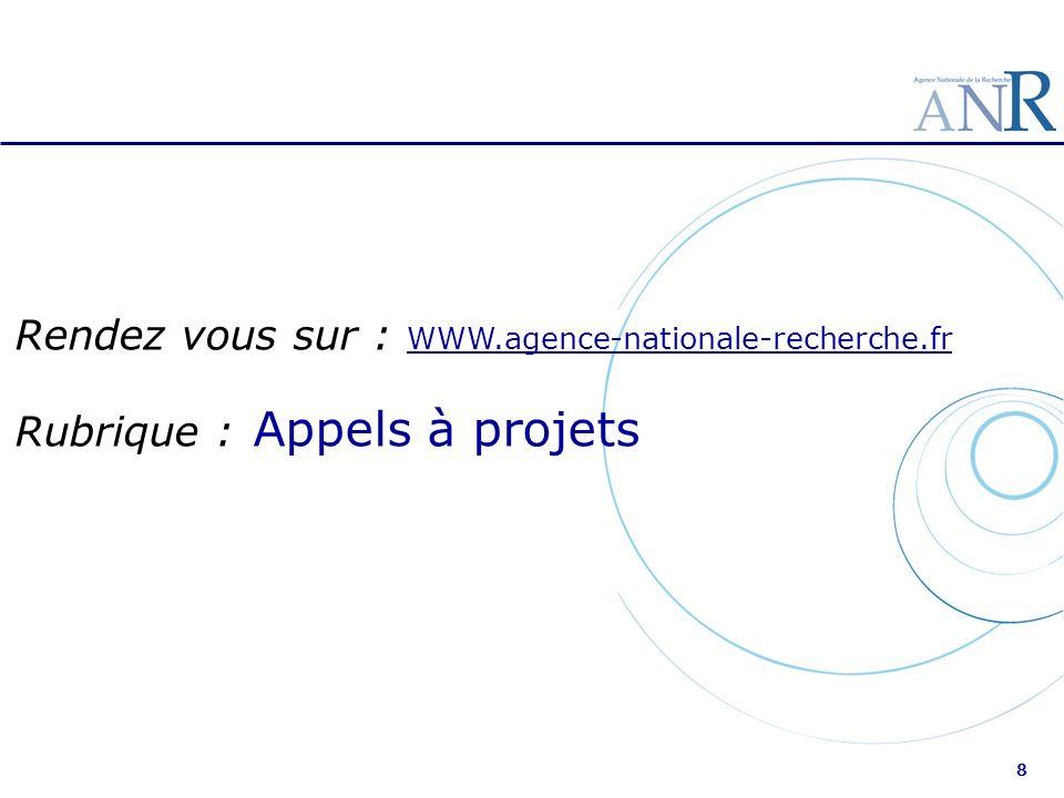 Rendez vous sur : WWW.agence-nationale-recherche.fr