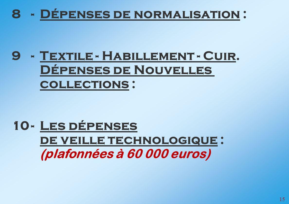 8 - Dépenses de normalisation :