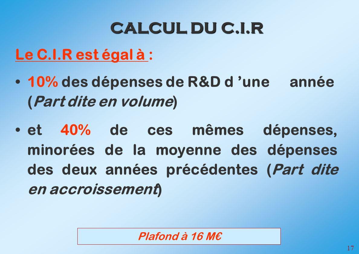 CALCUL DU C.I.R Le C.I.R est égal à :