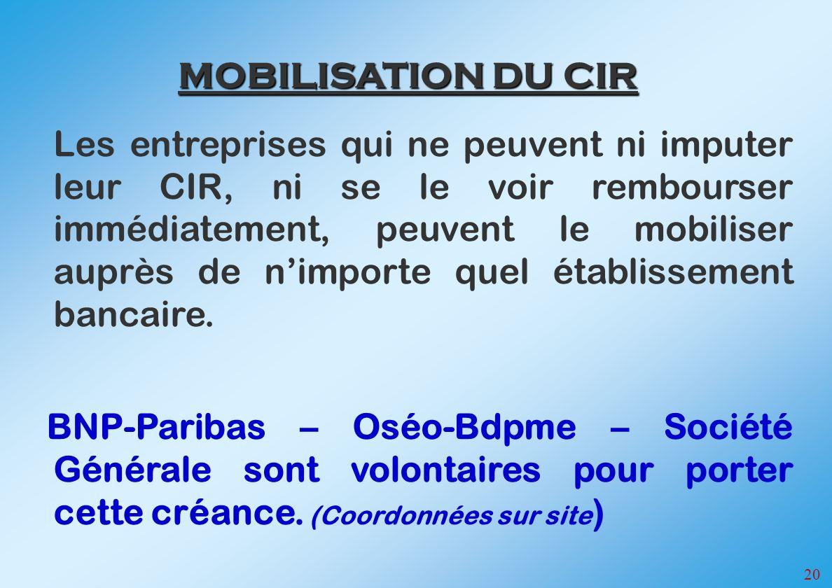 MOBILISATION DU CIR