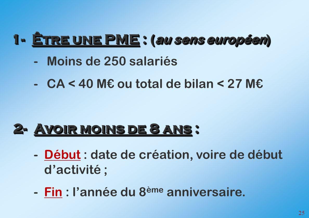 1- Être une PME : (au sens européen)