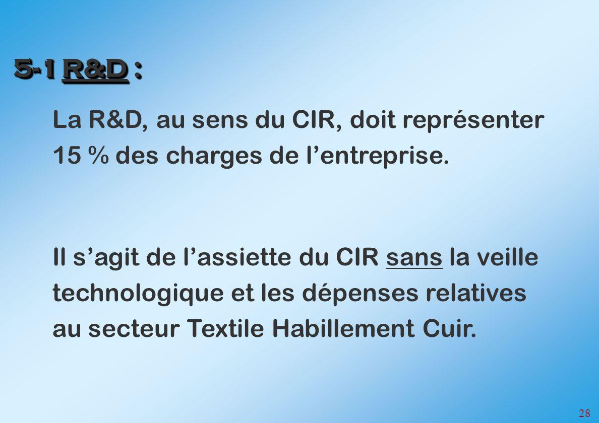 5-1 R&D : La R&D, au sens du CIR, doit représenter 15 % des charges de l'entreprise.