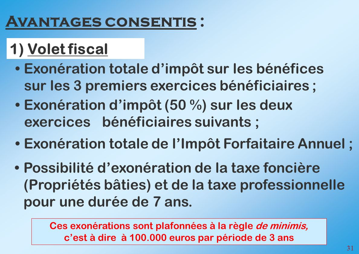 Avantages consentis : 1) Volet fiscal