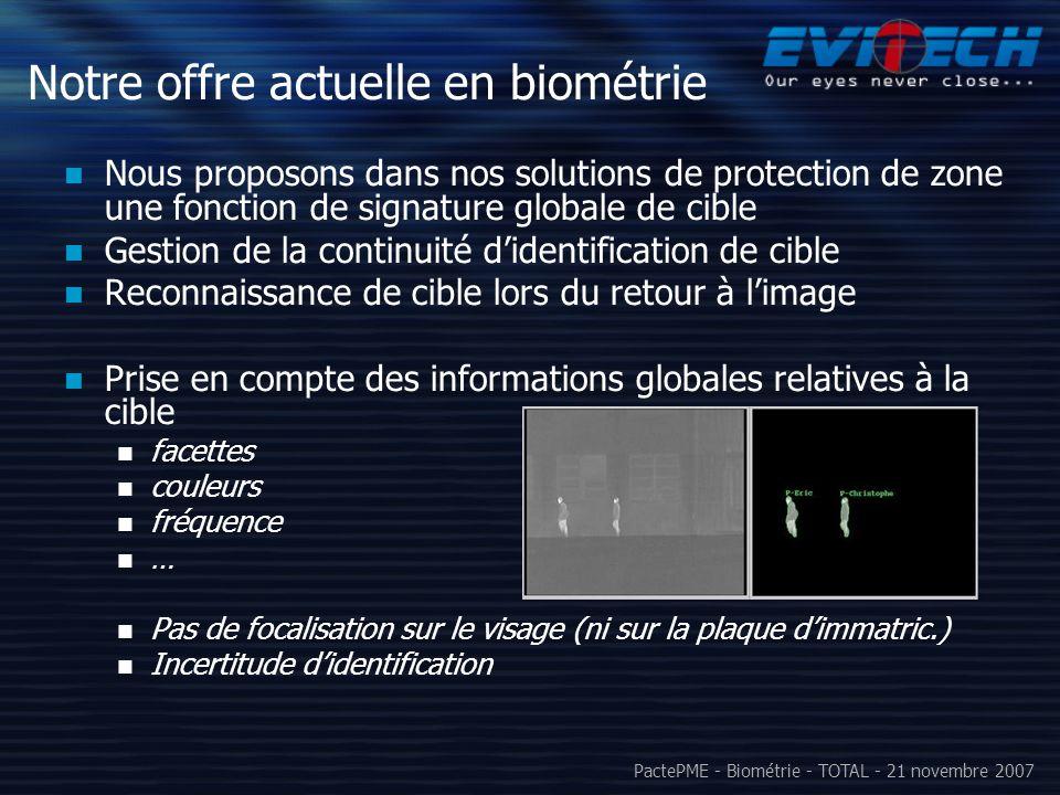 Notre offre actuelle en biométrie
