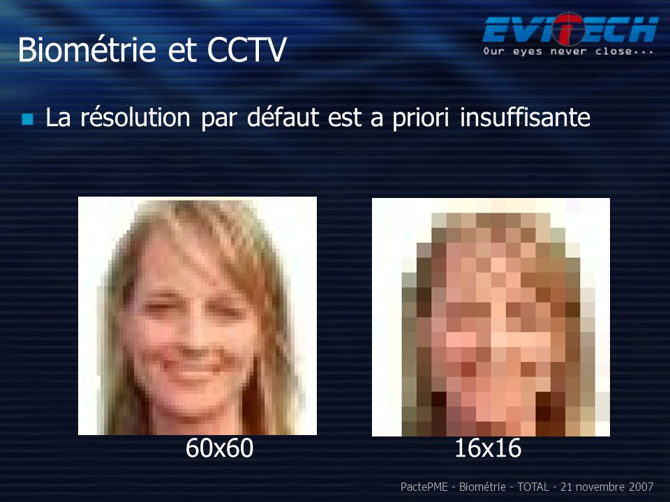 Biométrie et CCTV La résolution par défaut est a priori insuffisante