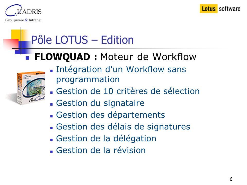 Pôle LOTUS – Edition FLOWQUAD : Moteur de Workflow