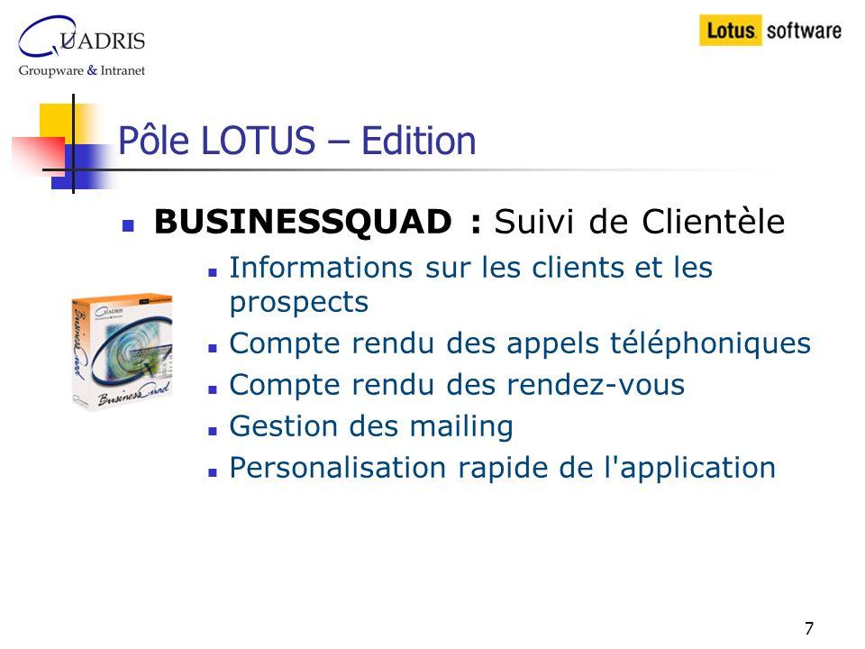 Pôle LOTUS – Edition BUSINESSQUAD : Suivi de Clientèle