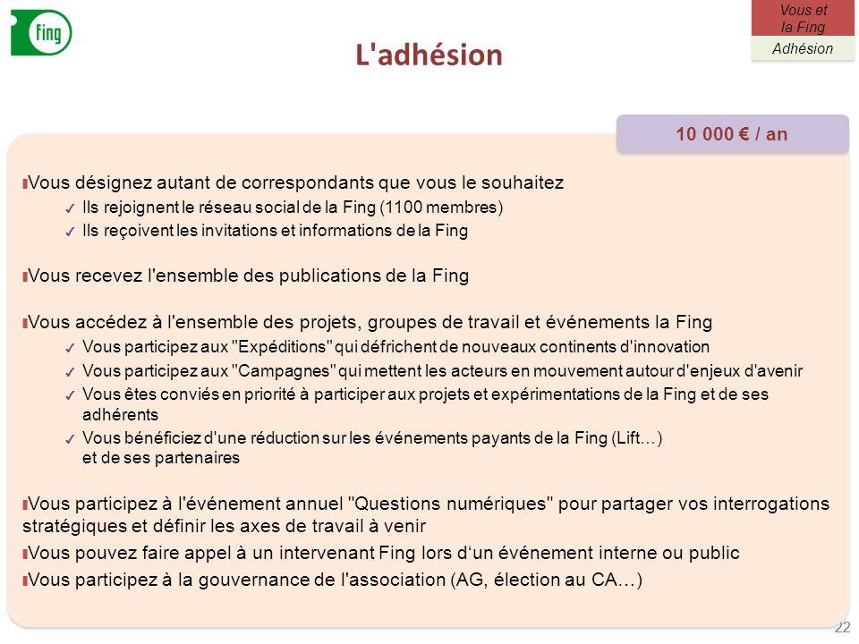 L adhésionVous et la Fing. Adhésion. 10 000 € / an. Vous désignez autant de correspondants que vous le souhaitez.
