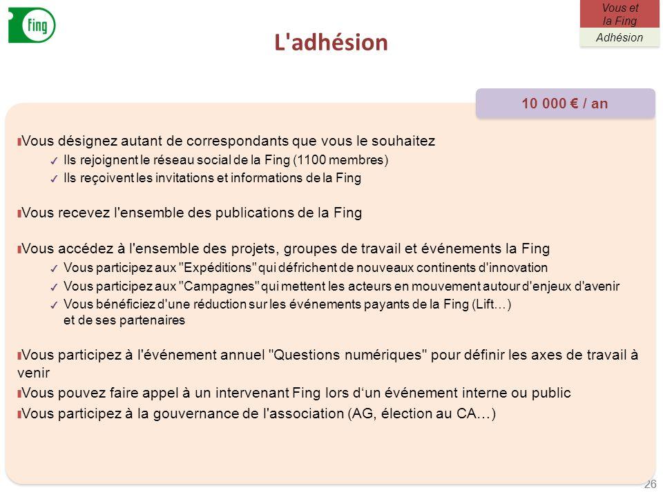 L adhésion Vous et la Fing. Adhésion. 10 000 € / an. Vous désignez autant de correspondants que vous le souhaitez.