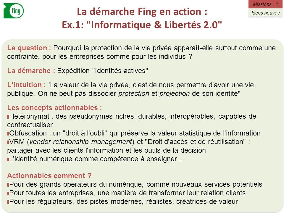 La démarche Fing en action : Ex.1: Informatique & Libertés 2.0