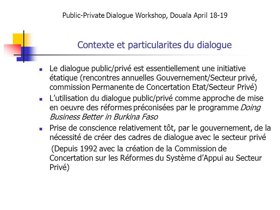 Contexte et particularites du dialogue
