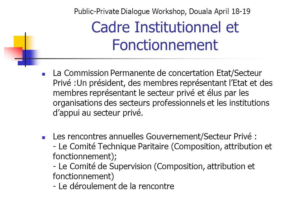 Cadre Institutionnel et Fonctionnement