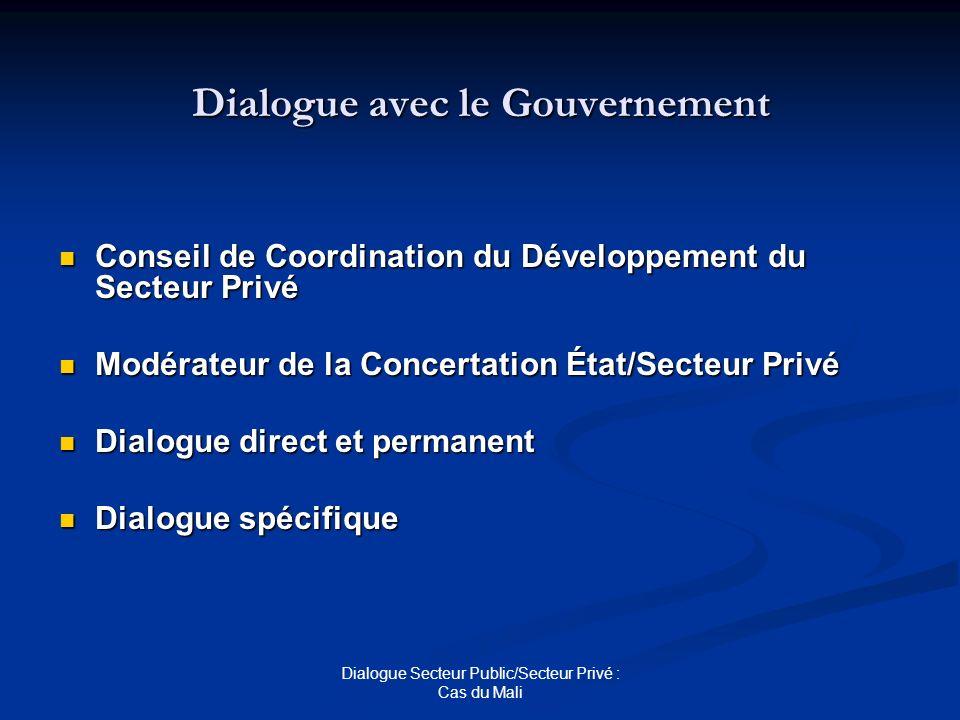 Dialogue avec le Gouvernement