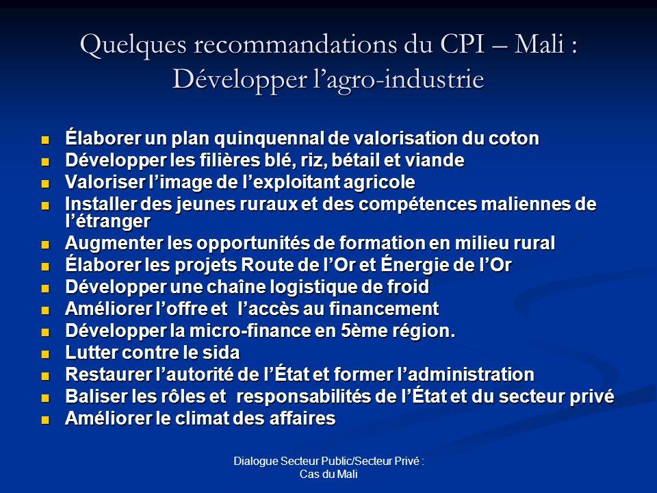 Quelques recommandations du CPI – Mali : Développer l'agro-industrie