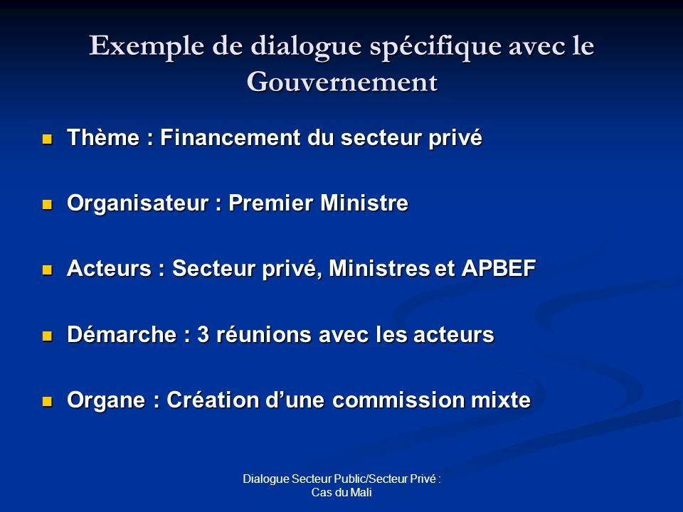 Exemple de dialogue spécifique avec le Gouvernement