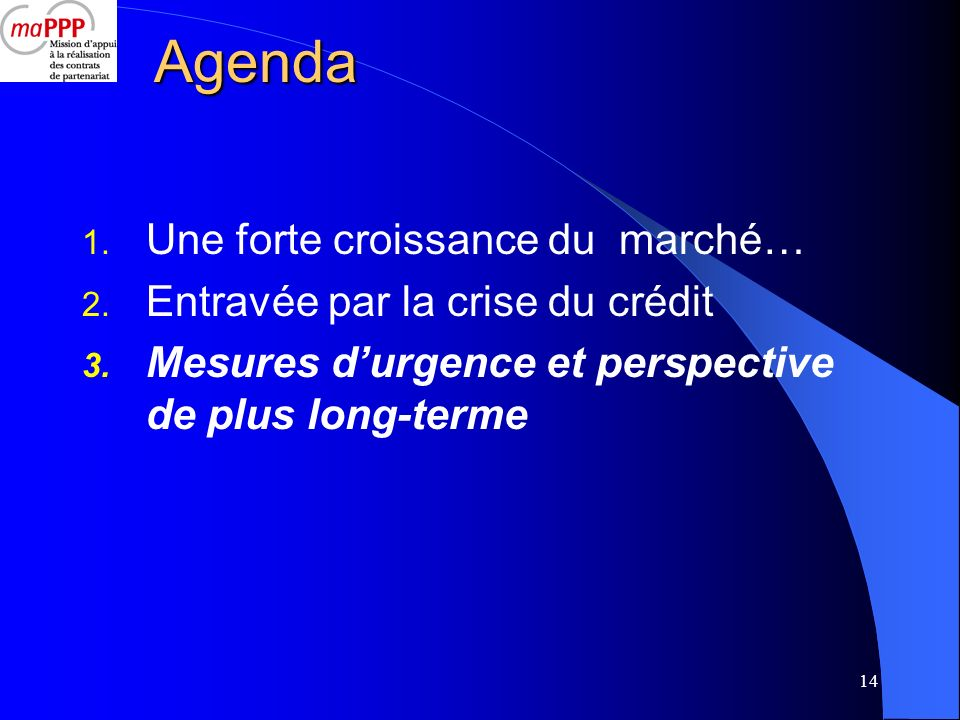 Agenda Une forte croissance du marché… Entravée par la crise du crédit