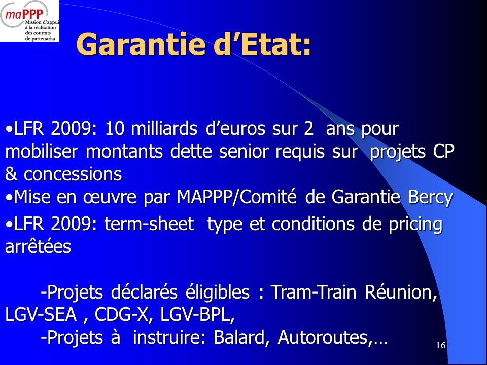 Garantie d'Etat: LFR 2009: 10 milliards d'euros sur 2 ans pour mobiliser montants dette senior requis sur projets CP & concessions.