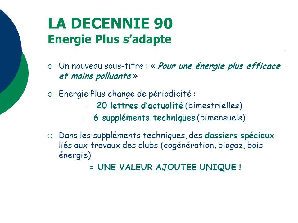 LA DECENNIE 90 Energie Plus s'adapte
