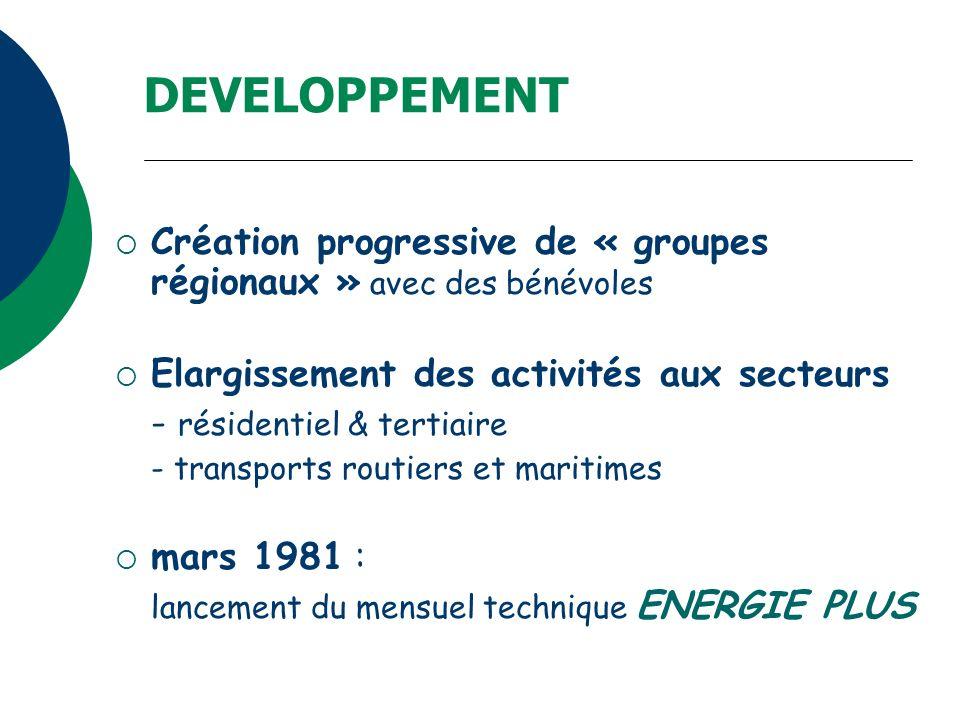 DEVELOPPEMENT Création progressive de « groupes régionaux » avec des bénévoles. Elargissement des activités aux secteurs.