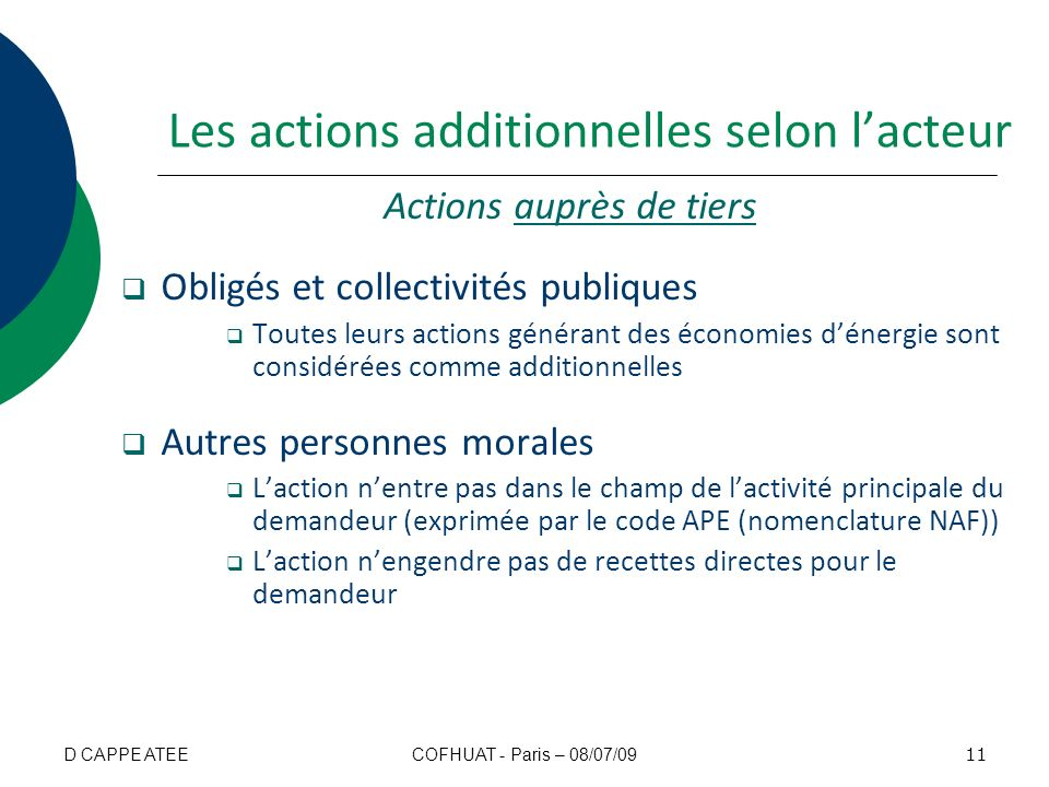 Les actions additionnelles selon l'acteur