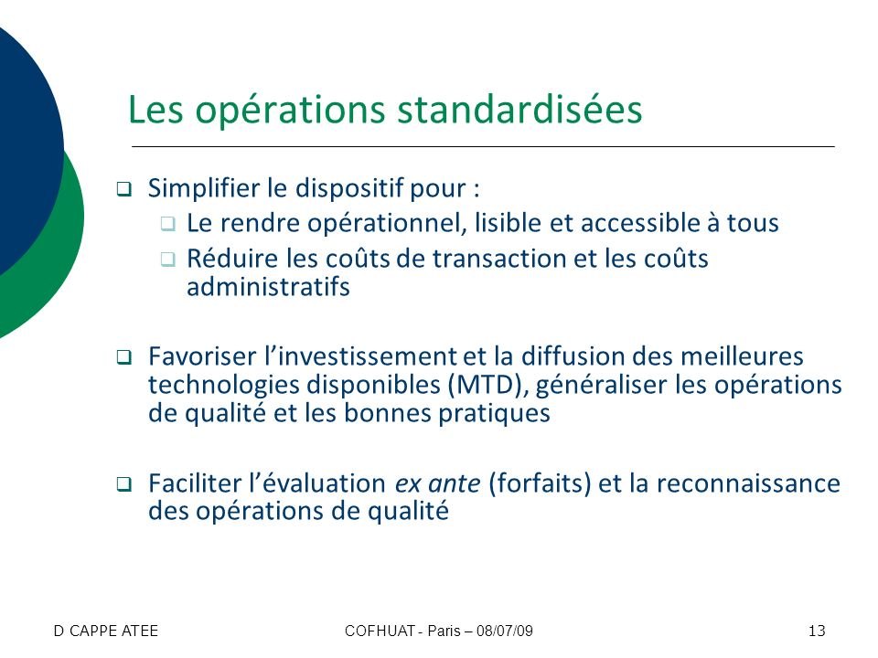 Les opérations standardisées