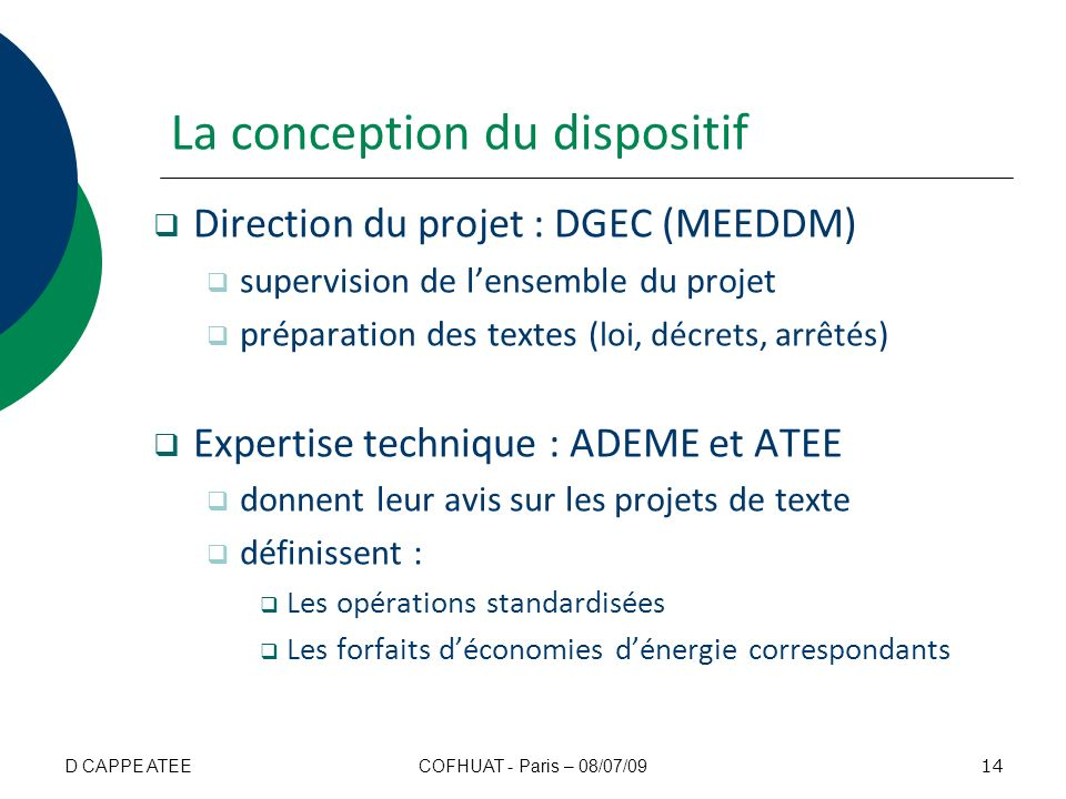 La conception du dispositif