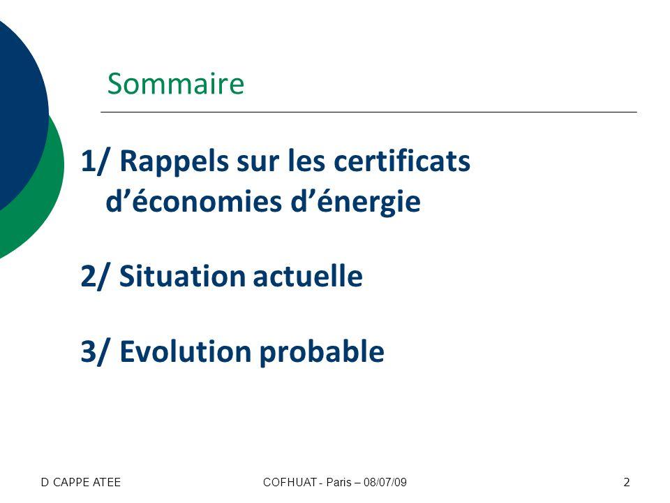 Sommaire 1/ Rappels sur les certificats d'économies d'énergie 2/ Situation actuelle 3/ Evolution probable