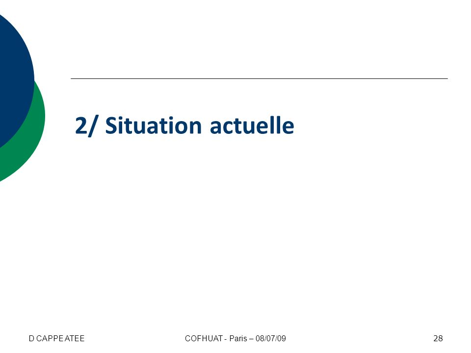 2/ Situation actuelle D CAPPE ATEE COFHUAT - Paris – 08/07/09