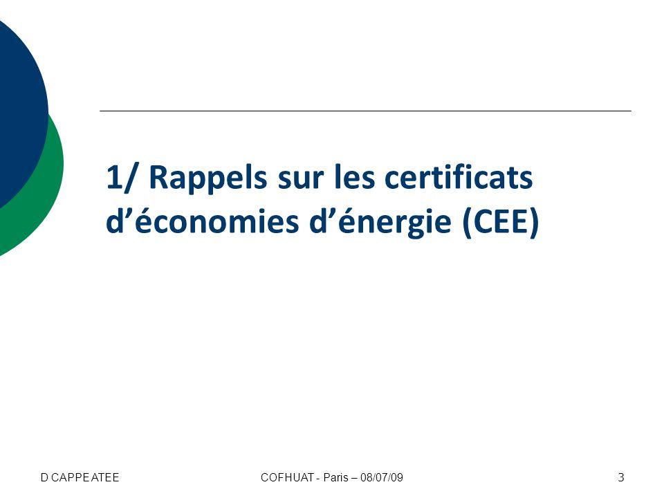 1/ Rappels sur les certificats d'économies d'énergie (CEE)