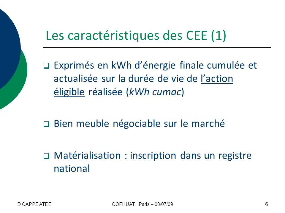 Les caractéristiques des CEE (1)