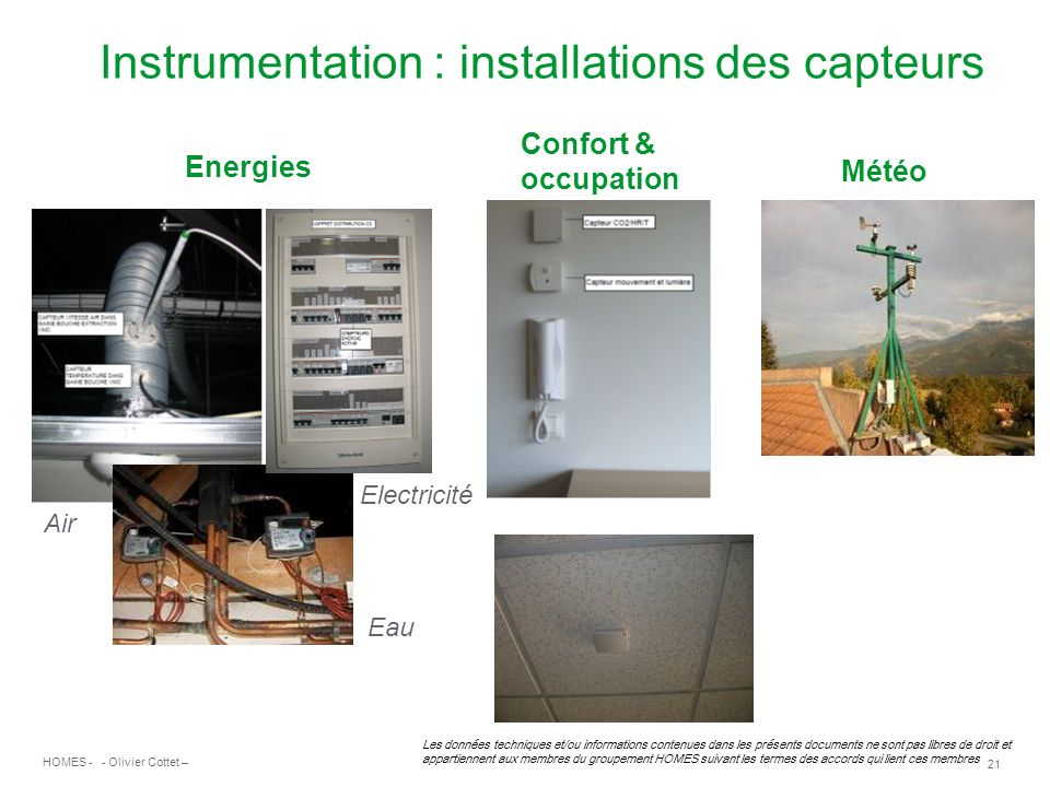 Instrumentation : installations des capteurs