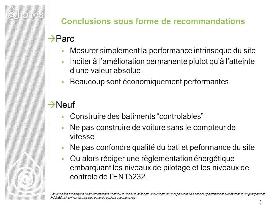 Conclusions sous forme de recommandations