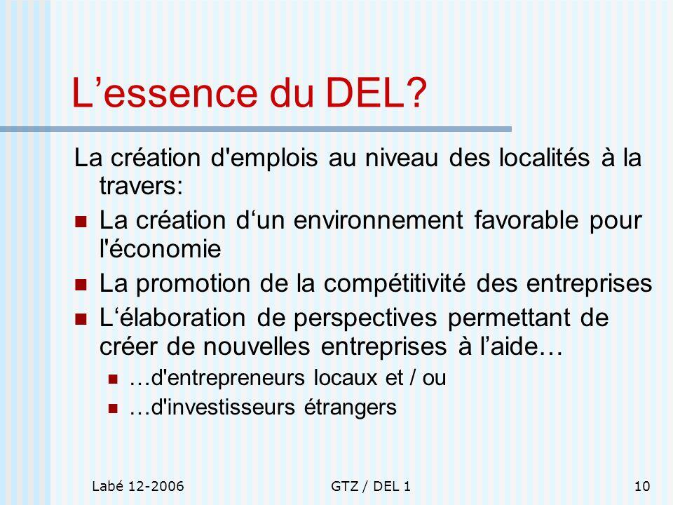 L'essence du DEL La création d emplois au niveau des localités à la travers: La création d'un environnement favorable pour l économie.