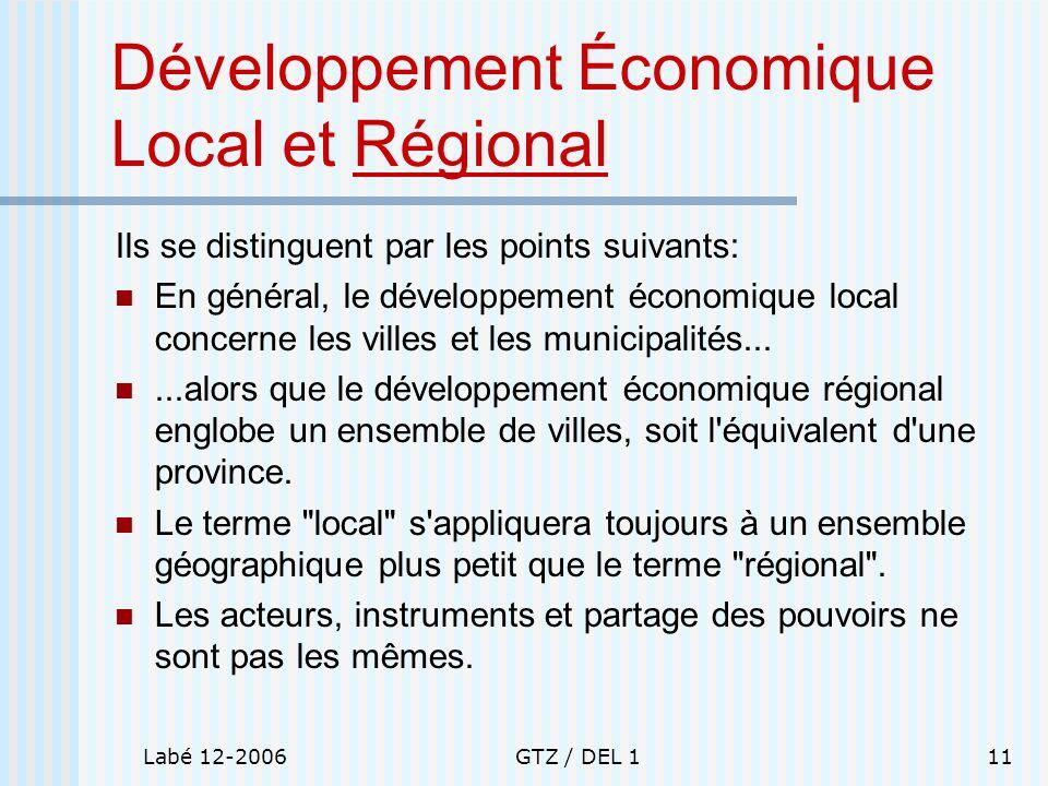 Développement Économique Local et Régional