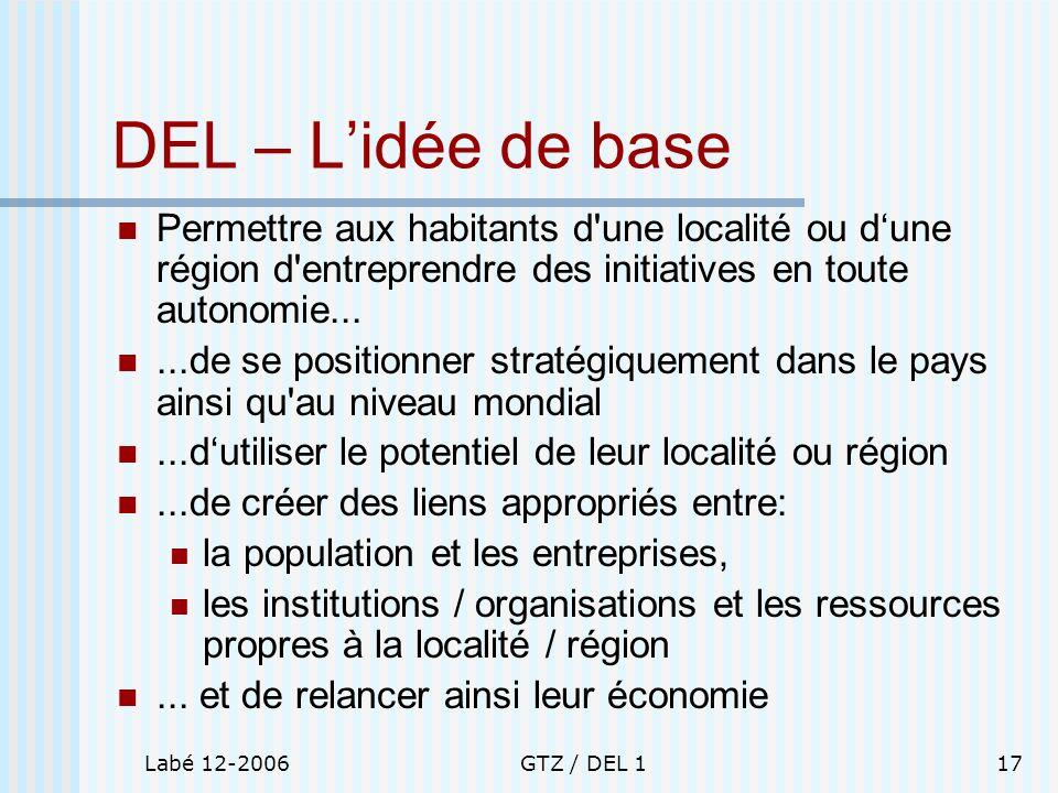 DEL – L'idée de base Permettre aux habitants d une localité ou d'une région d entreprendre des initiatives en toute autonomie...