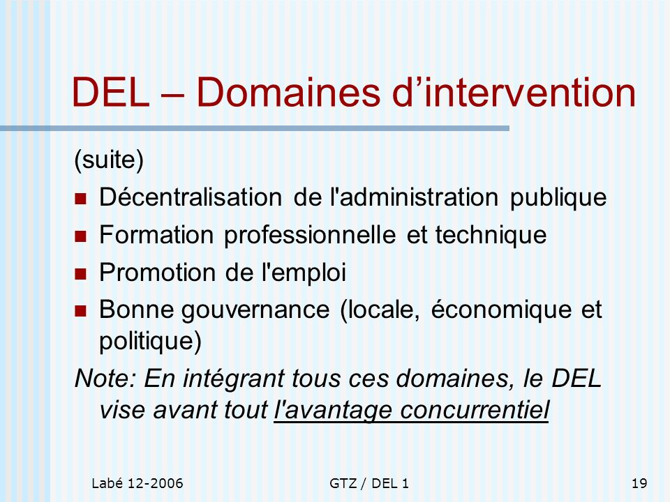 DEL – Domaines d'intervention