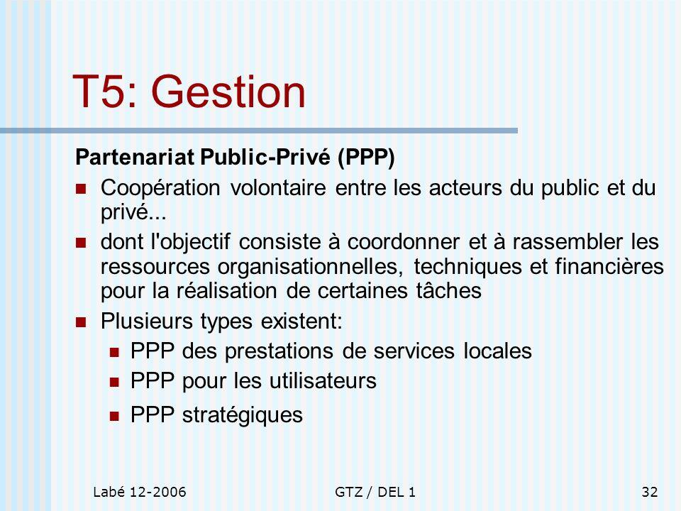 T5: Gestion Partenariat Public-Privé (PPP)