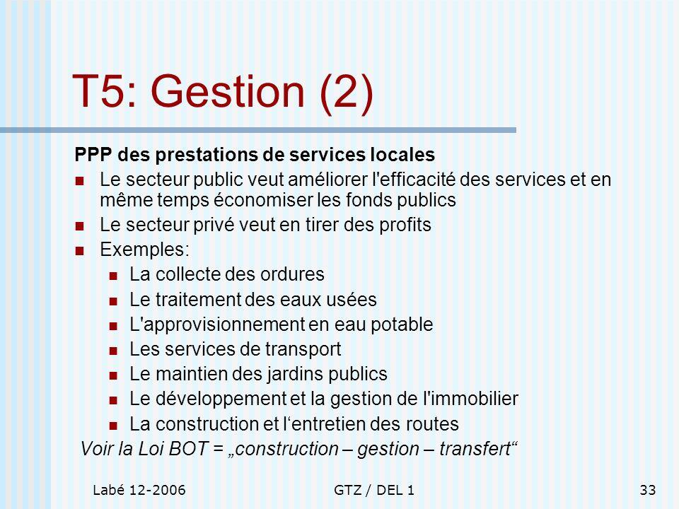 T5: Gestion (2) PPP des prestations de services locales