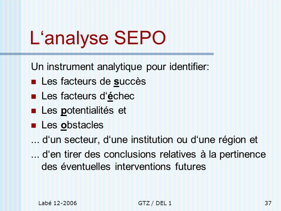 L'analyse SEPO Un instrument analytique pour identifier: