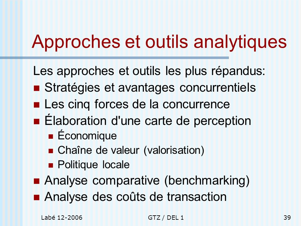 Approches et outils analytiques
