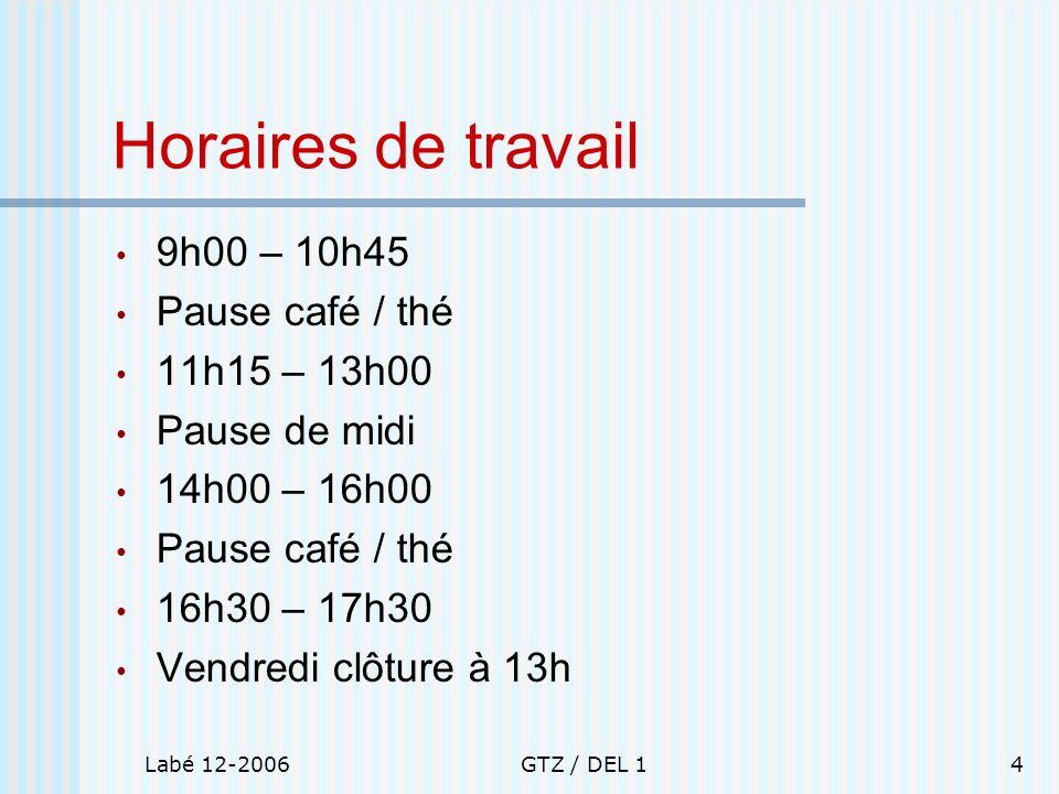 Horaires de travail 9h00 – 10h45 Pause café / thé 11h15 – 13h00